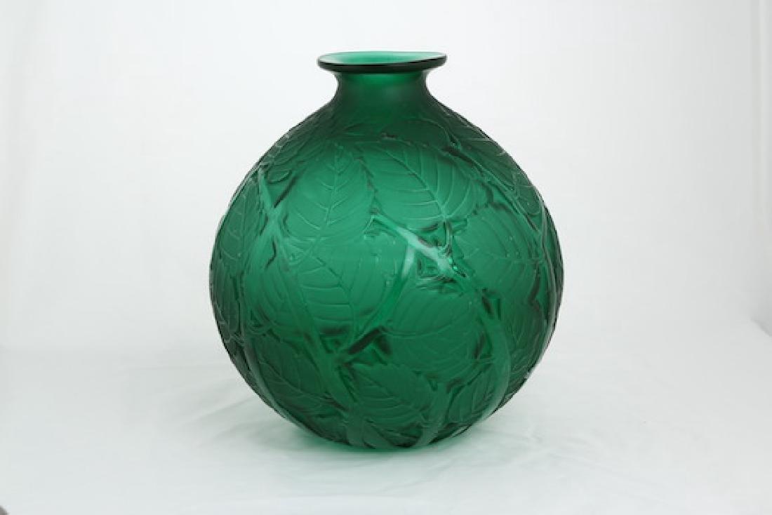 """Rene Lalique """"Milan"""" green glass vase. - 4"""