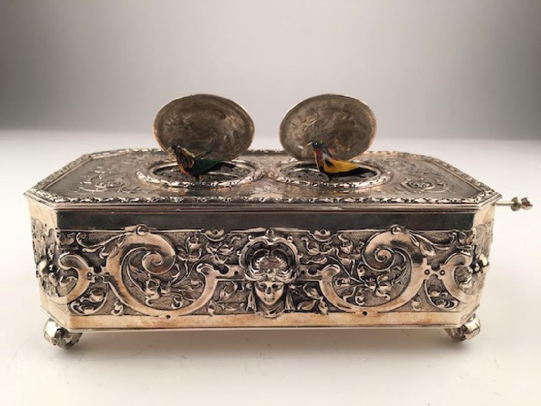 925 Silver mechanical double singing bird box when the