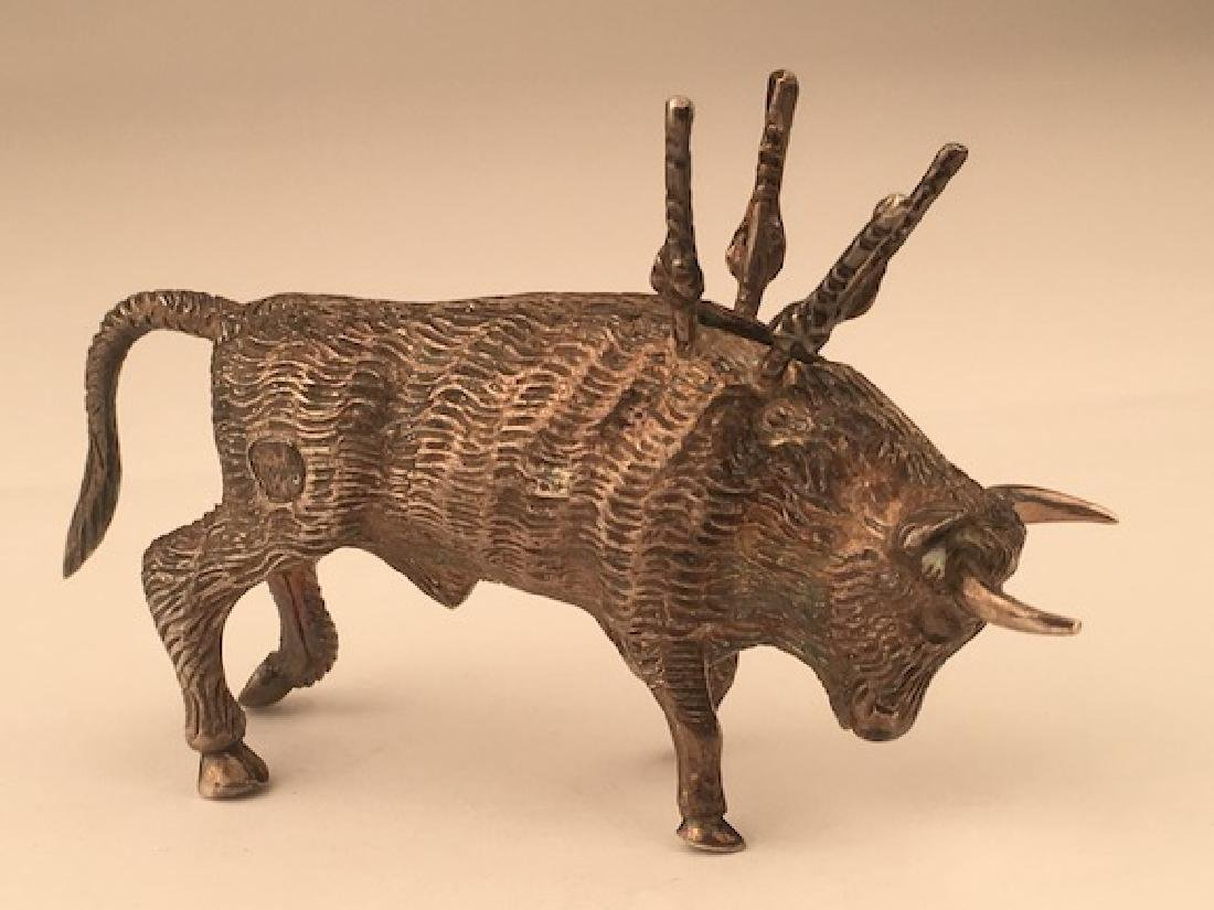 Antique 800 silver bull toothpick holder.