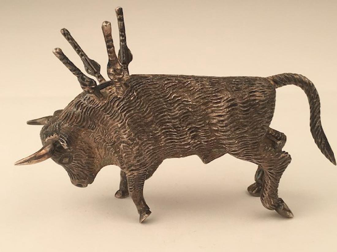Antique 800 silver bull toothpick holder. - 3