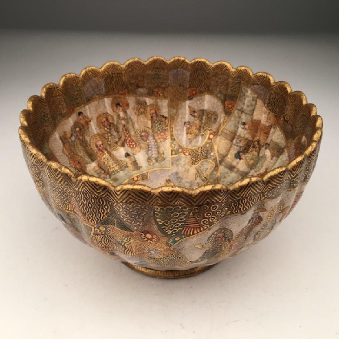 A very well done Japanese Satsuma scalloped edge bowl.