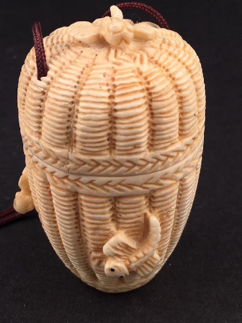 Antique carved Netsuke figure of a basket with top and - 2
