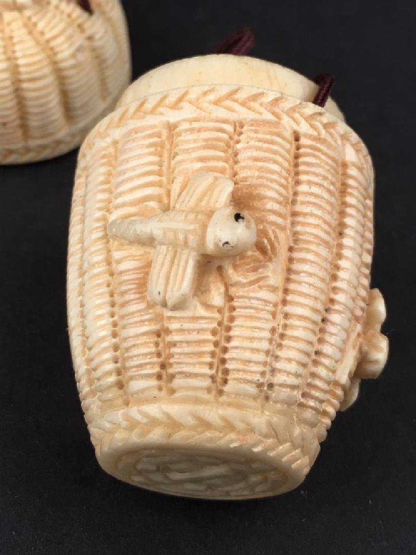 Antique carved Netsuke figure of a basket with top and - 6