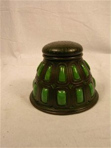 3033: TIFFANY STUDIOS BRONZE AND BLOWN GREEN GLASS INKW