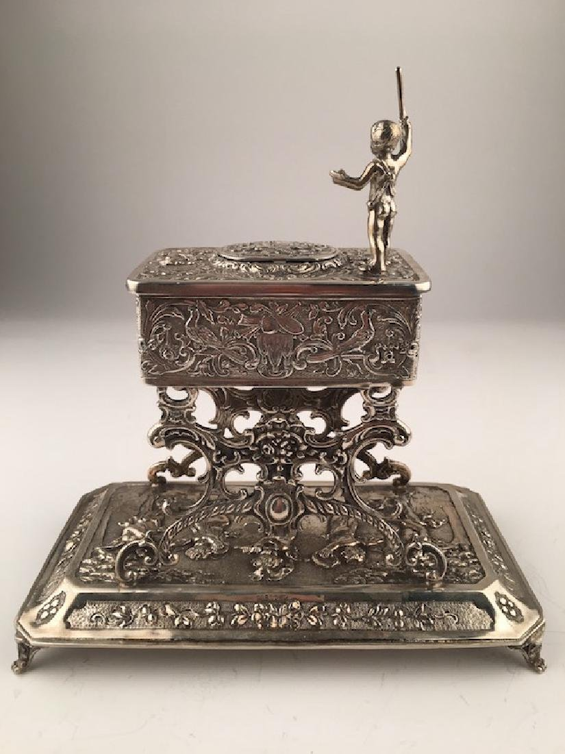 A sterling silver mechanical singing bird box with a - 3