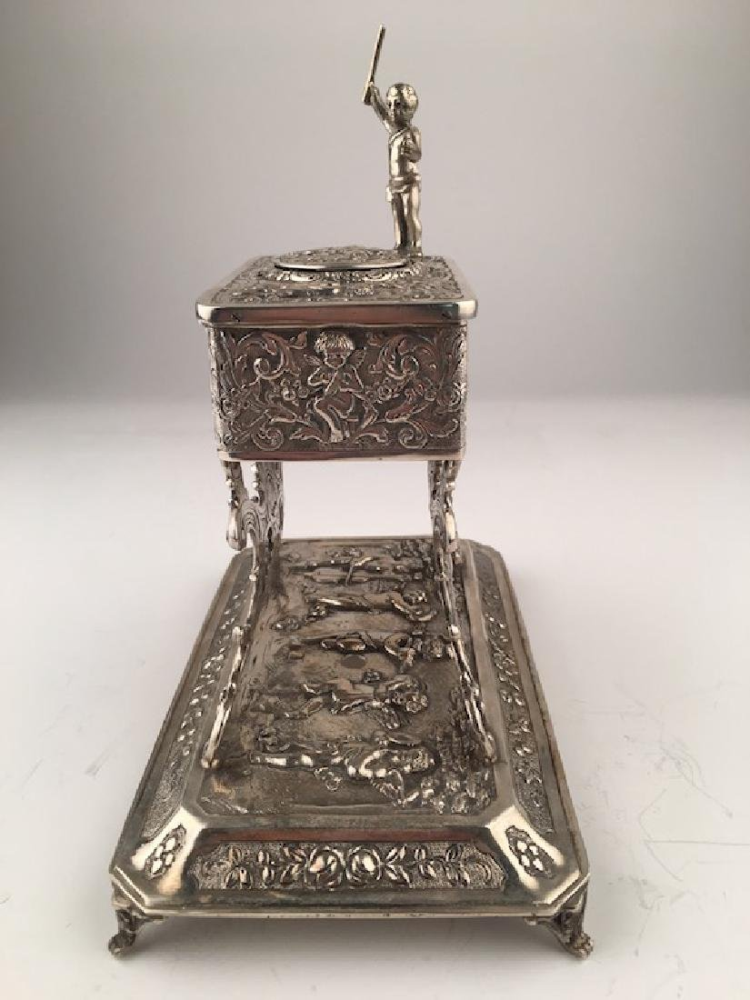 A sterling silver mechanical singing bird box with a - 5