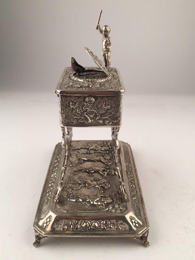 A sterling silver mechanical singing bird box with a - 6