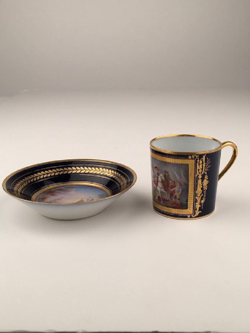19 th Century Sevres portrait cup and saucer.
