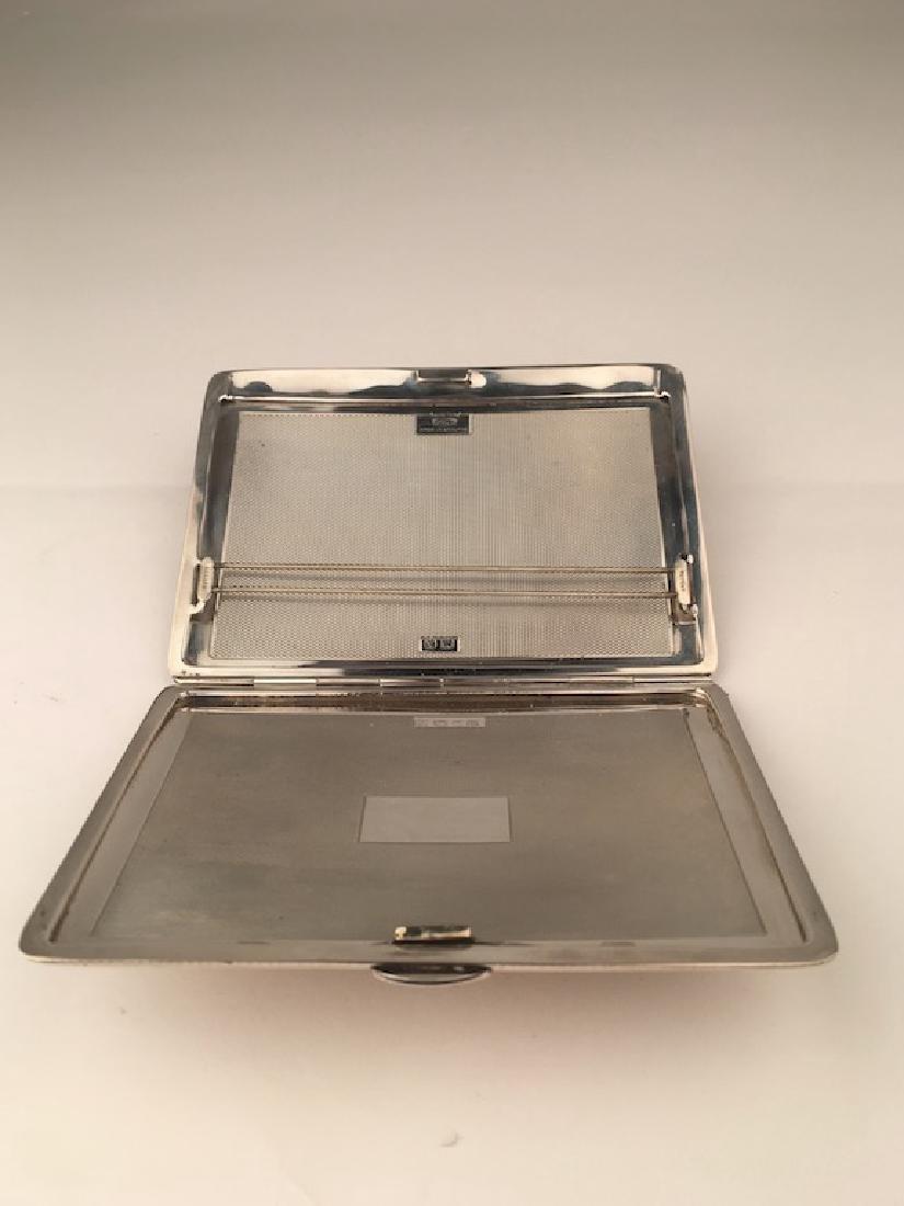 English hallamarked silver cigarette case. - 4