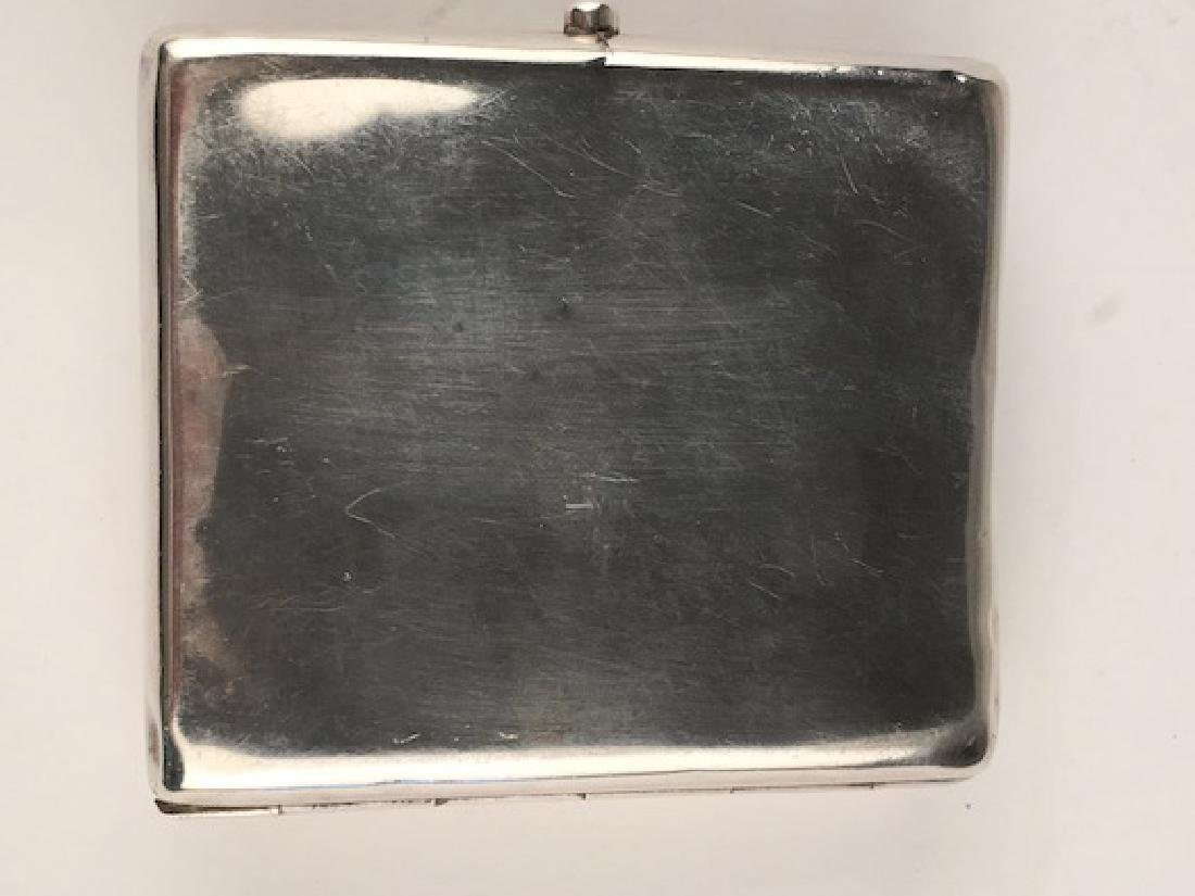 Hallmarked sterling sterling silver cigarette case with - 2