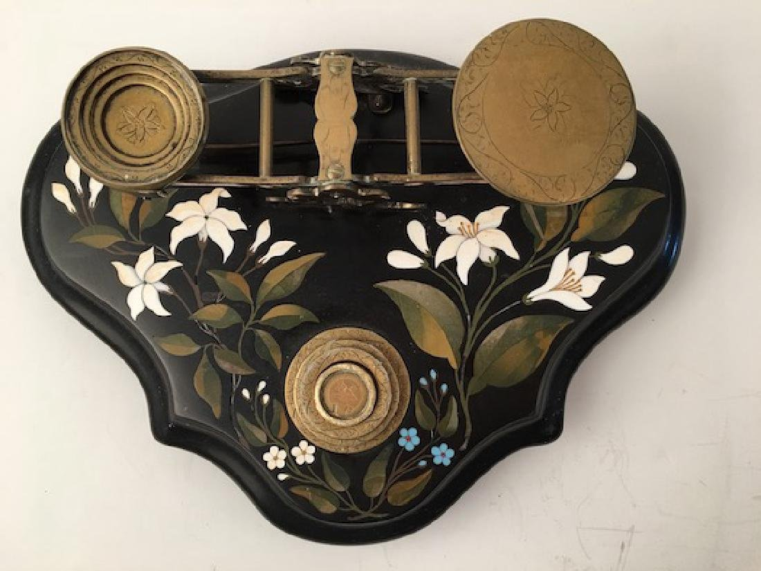 Circa 1880 antique pietra dura scale with weights. 11