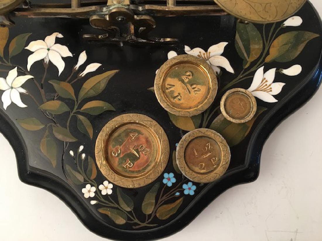 Circa 1880 antique pietra dura scale with weights. 11 - 2