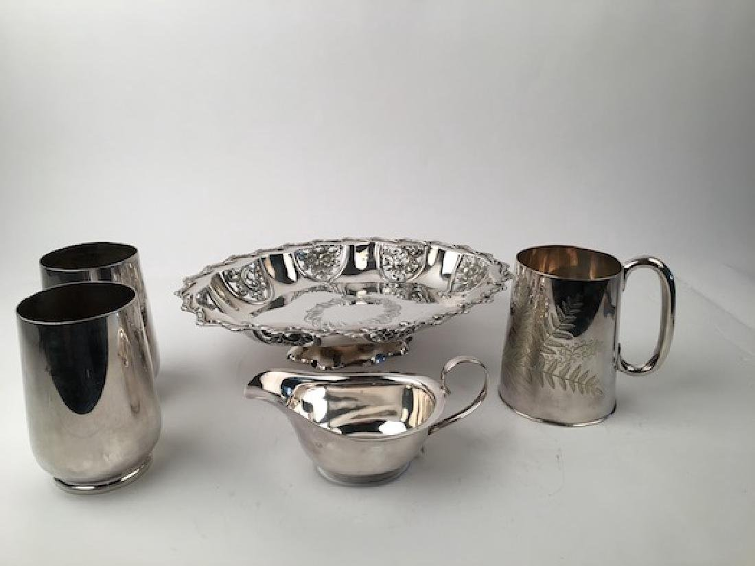 English silver plate serving tray, mug, graver cup and