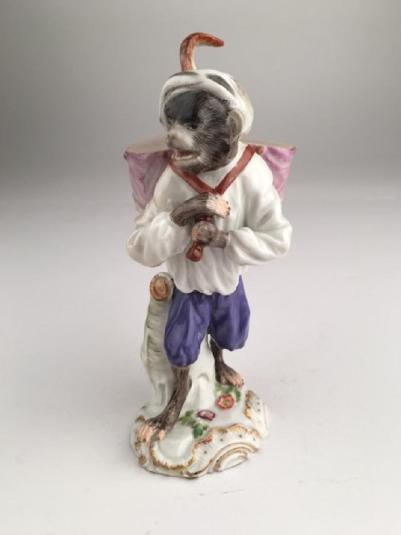 Meissen monkey band member with drums. Properly marked
