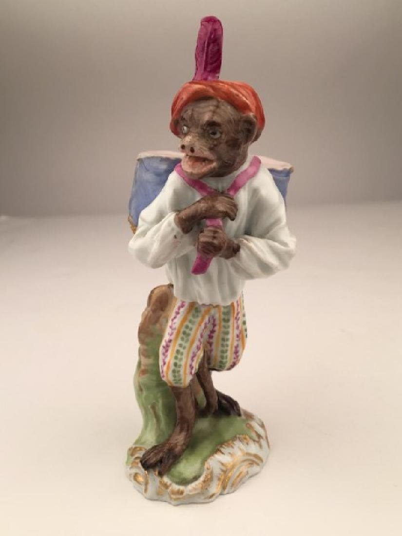 Meissen porcelain monkey  band member with drums