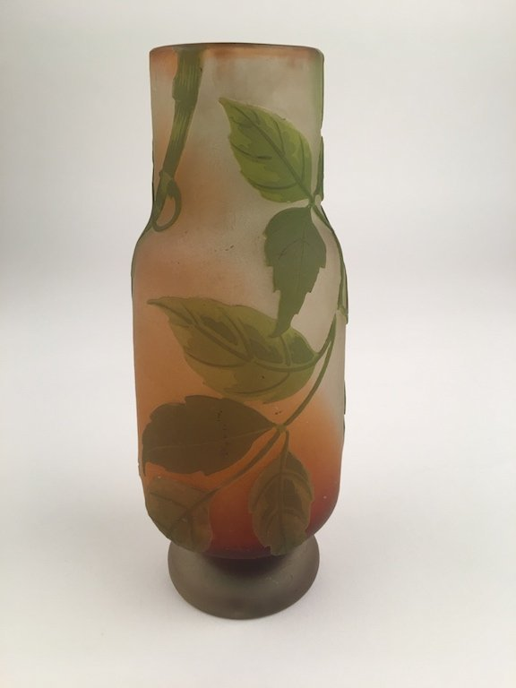 "Galle circa 1920 cameo slender vase. Marked ""Galle"" in"