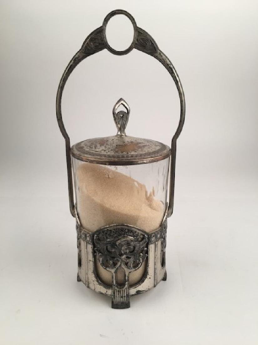 WMF pewter and glass covered jar with handle. Height 11