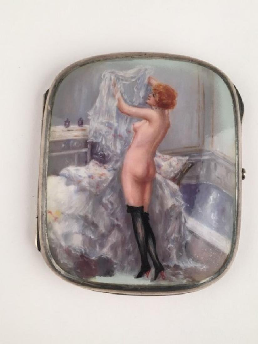 935 silver cigarette case with hand painted nudes. 3