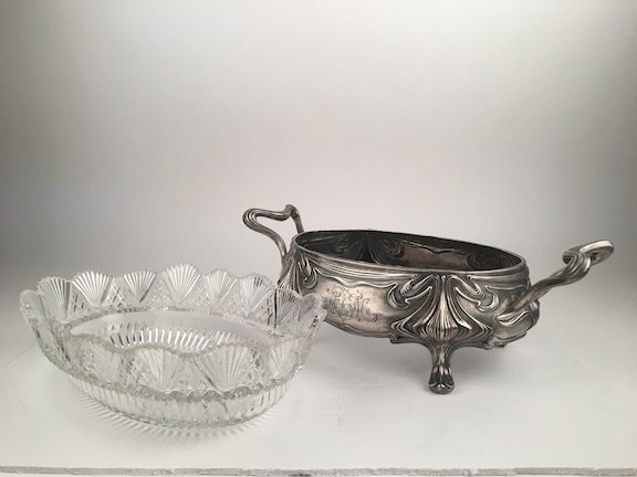 Russian silver monogramed bowl with a cut crystal