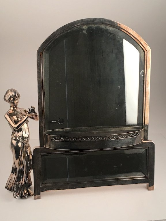 Art Nouveau silver plate on pewter easel miror. Stamped