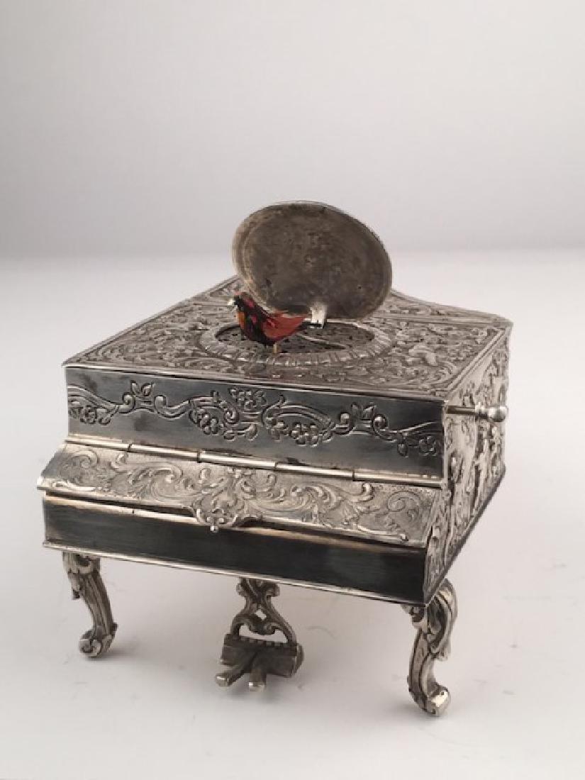 925 Silver mechanical singing bird box as a piano,
