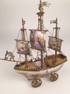 19 th Century Viennese painted enamel three masted