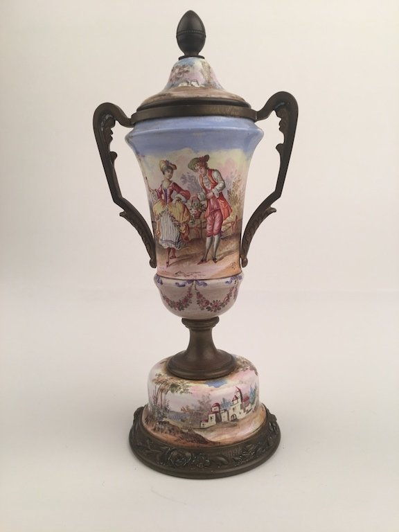 19 th Century Viennese painted enamel urn with a top