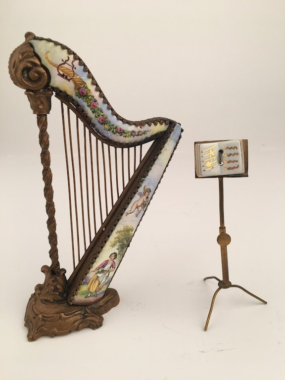 19 th Century Viennese painted enamel harp and three