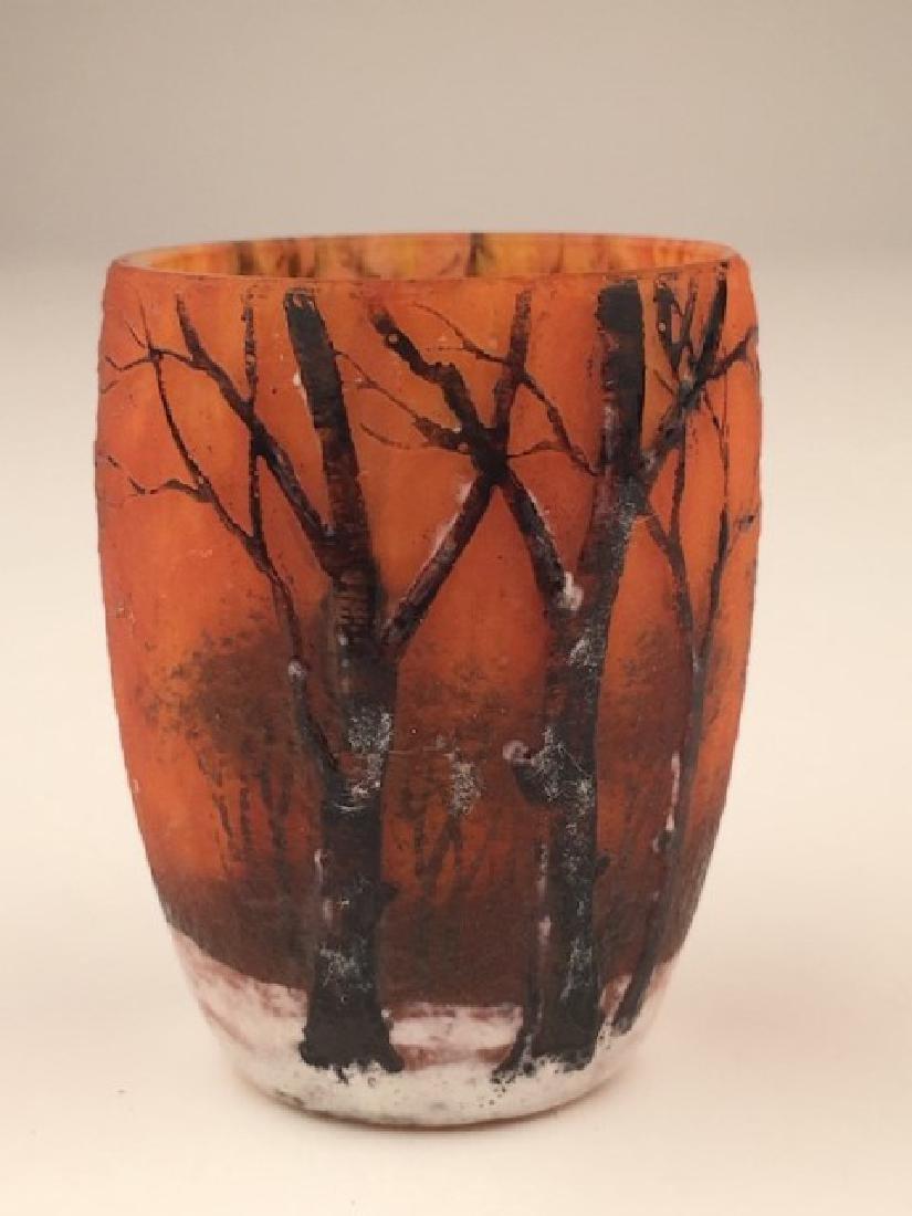 Daum winter scene open beaker shaped mini vase