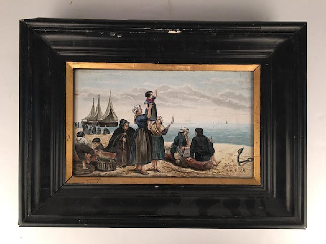 Hand painted plaque of a fisher scene.