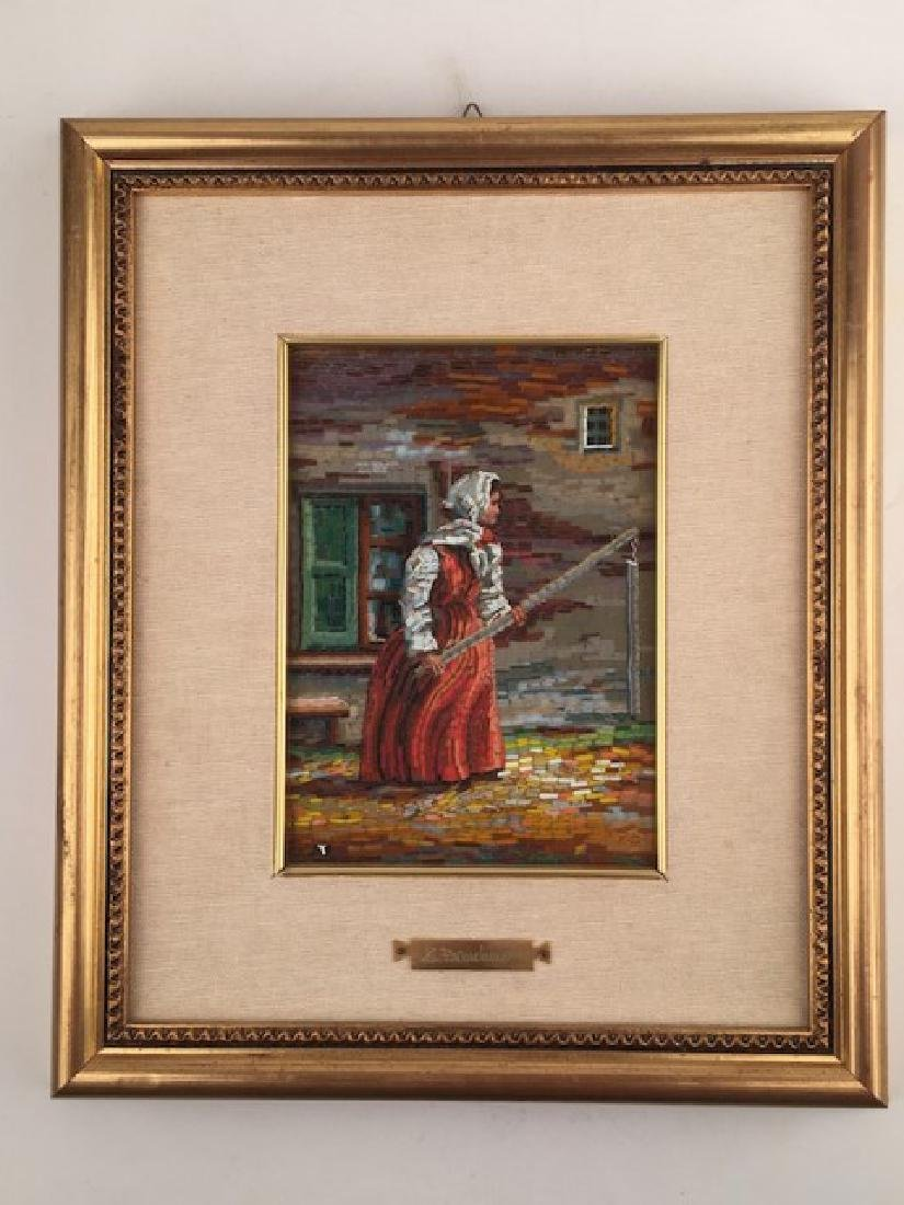 Micro mosaic plaque of lady fishing.