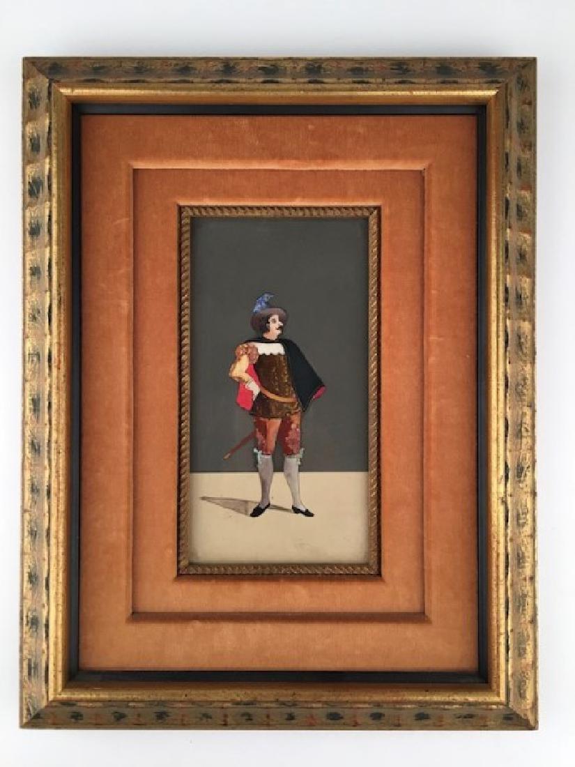 Framed pietra dura plaque of a standing gentleman.