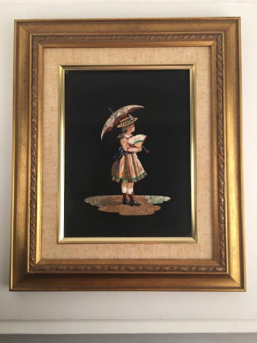 Antique Pietra Dura plaque of a young girl under an