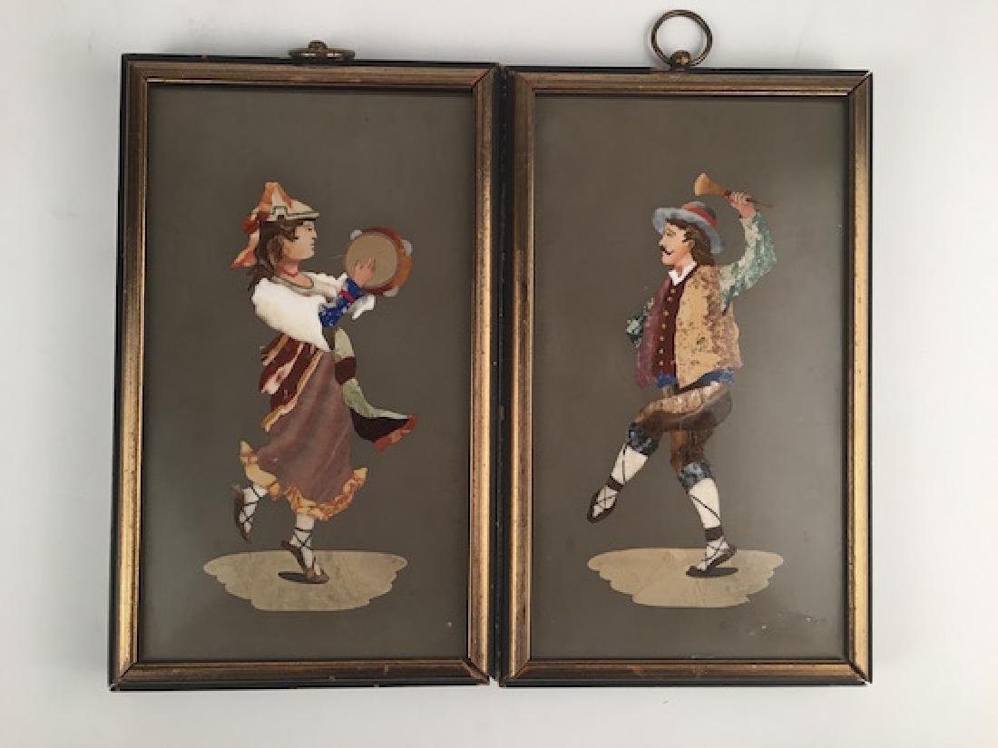 A pair of Pietra Dura plaques,