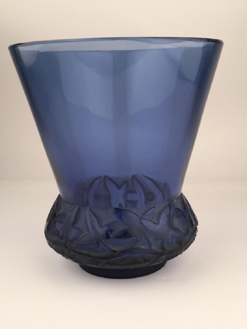 "R. Lalique ""Lierrre"" vase in a dark blue glass."