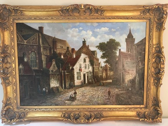 Oil on canvas of an old European street scene.