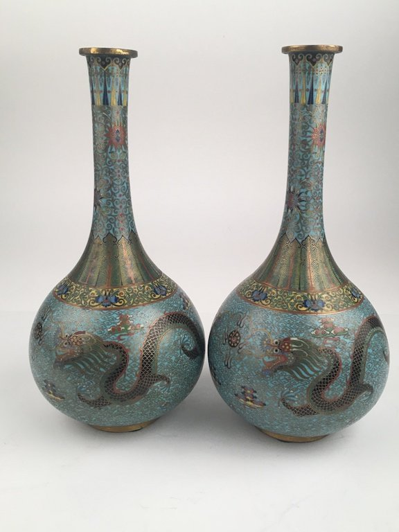 A pair of Chinese Republic cloissoine vases