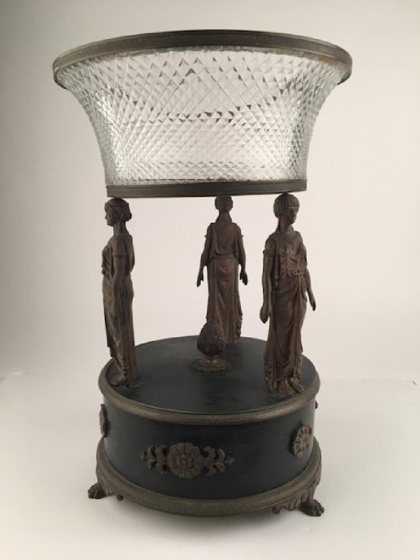 French empire figual bronze and crystal glass