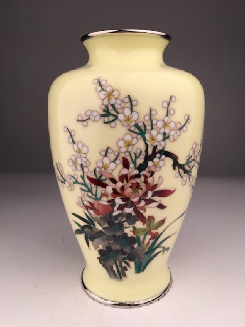 Japanese cloisoinne silver wire vase.