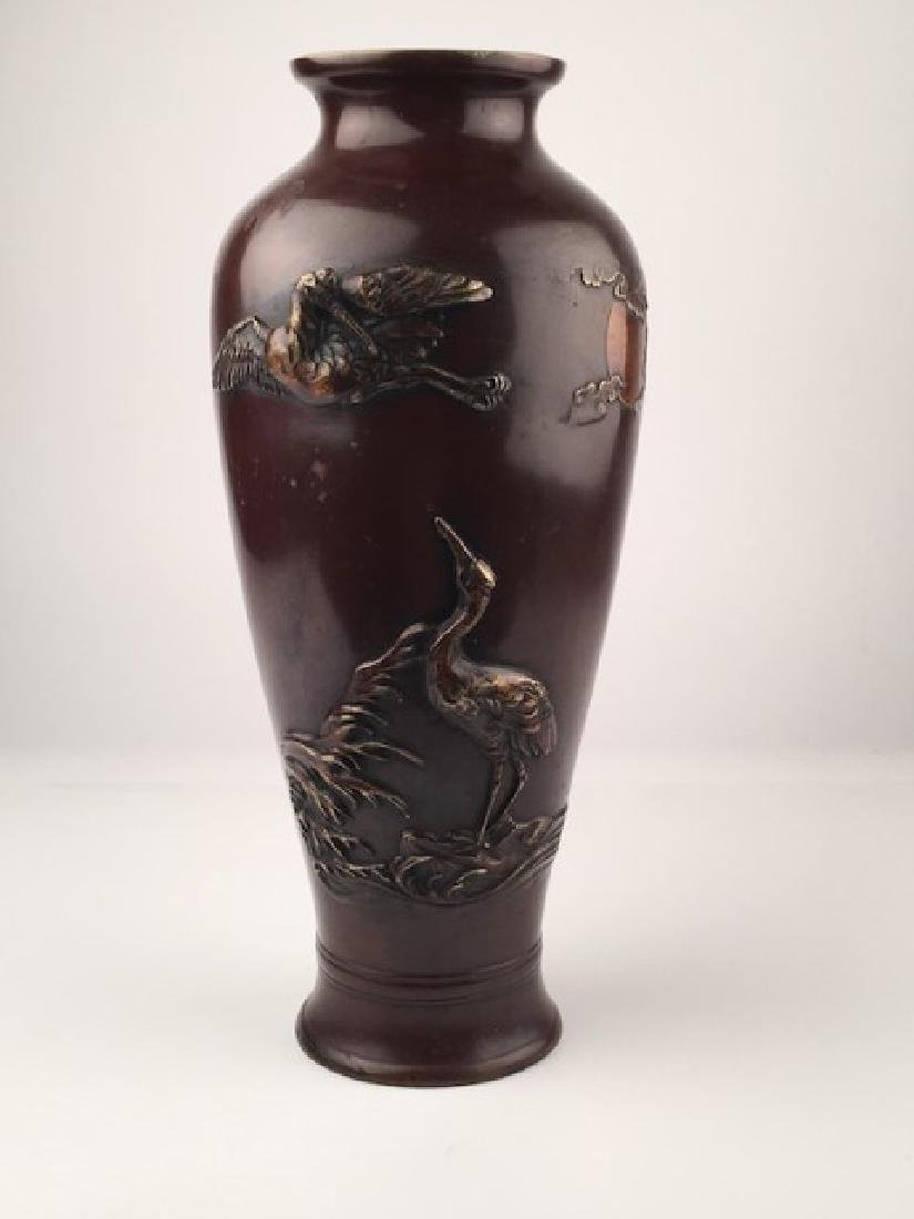 Meiji period mixed metal vase with two large cranes,