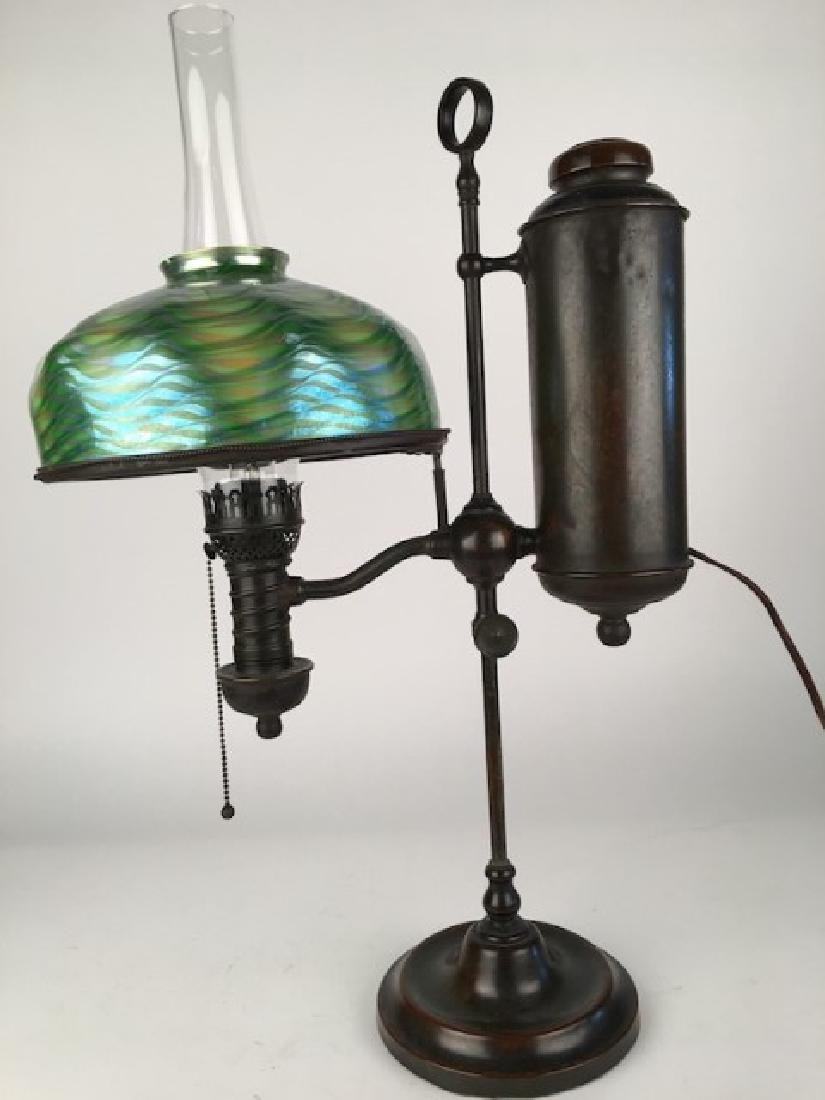 Tiffany Studios student lamp, bronze base with its