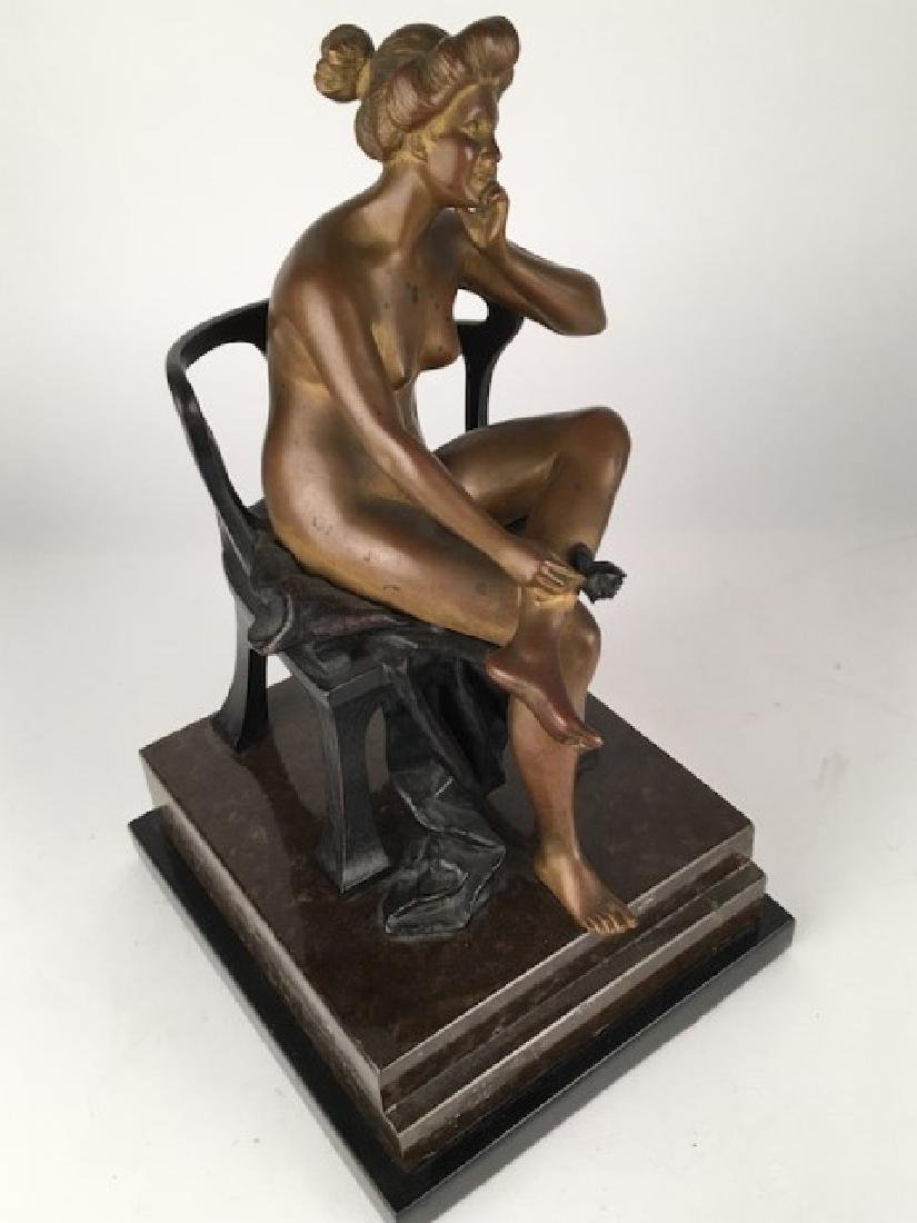 Godard bronze. Art deco patinated figural sculpture.
