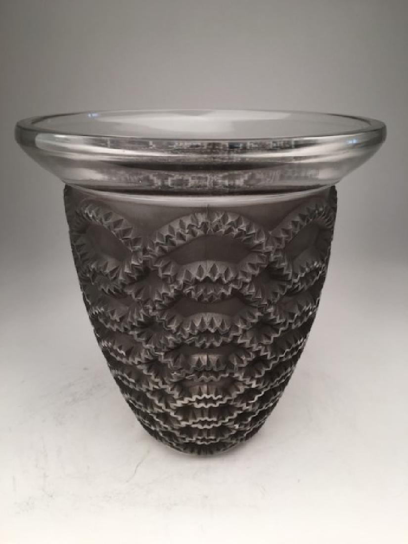 """R. Lalique """"Guirlandes"""" vase with a grey patina."""