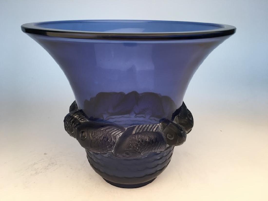 "R. Lalique ""Piriac"" vase in blue glass."