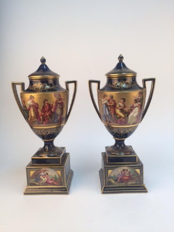Antique pair of Royal Vienna covered urns.