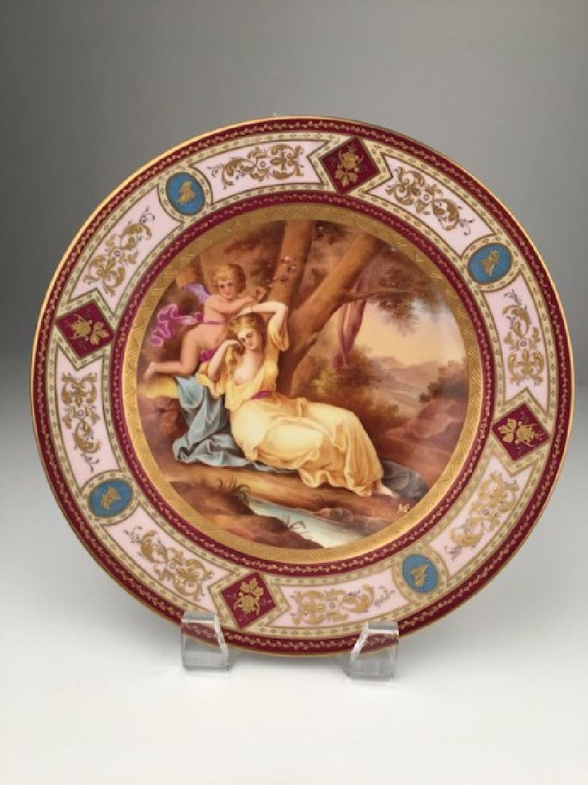 Royal Vienna portrait plate with a reclining woman and