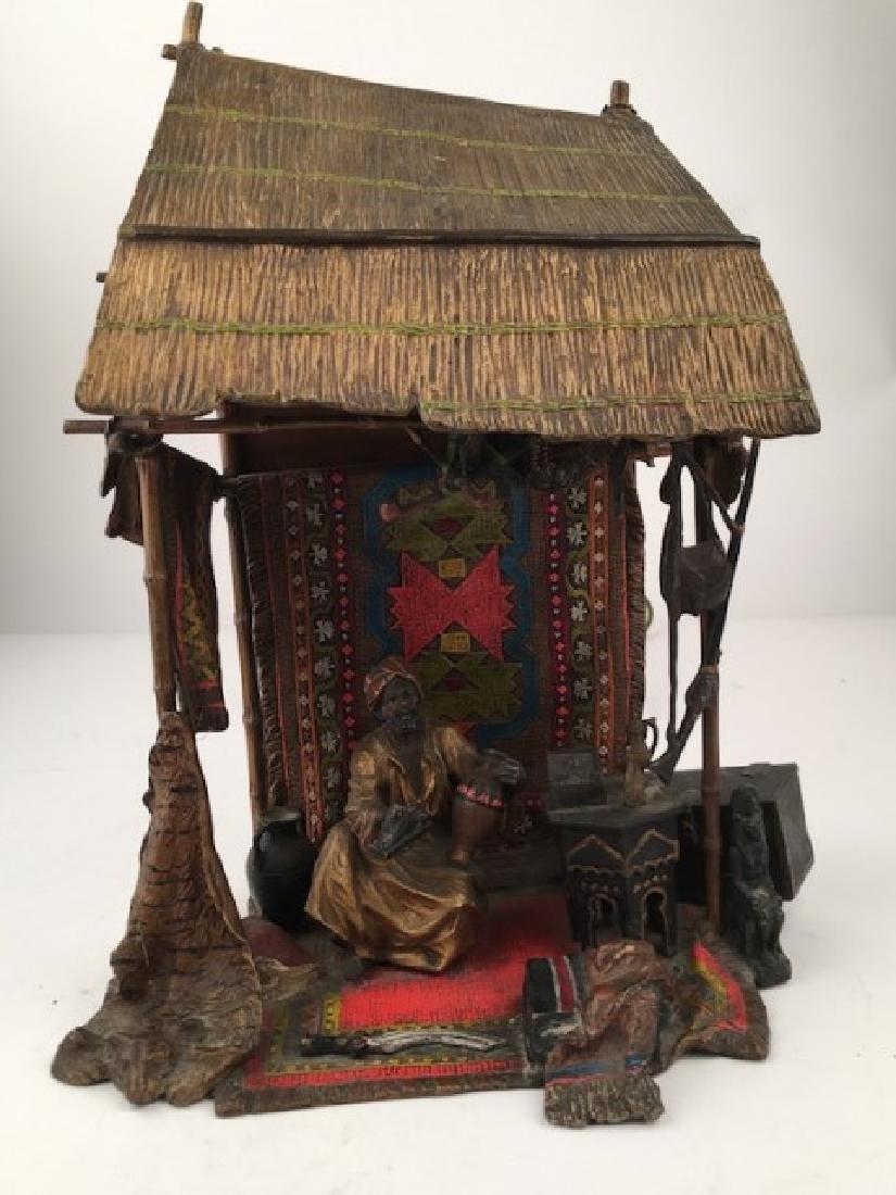 Antique Vienna bronze Orientalist bronze lamp