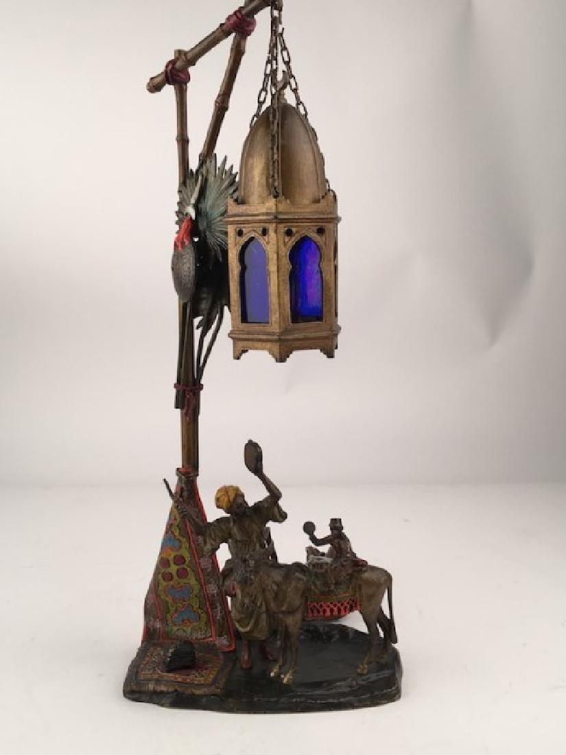 Antique Vienna bronze Orientalist bronze lamp with one