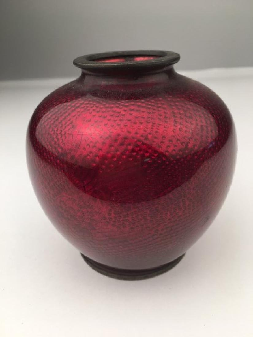 Vintage Japanese ox blood red cloisonne vase in a