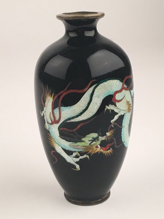Japanese Meiji period enamel vase.Decorated with a